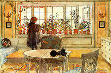 "CARL LARSSON : THE FLOWER WINDOW : SWEDISH STYLE : 24"" FINE ART CANVAS PRINT"
