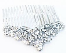 USA Hair Comb Clear using Swarovski Crystal Stick Pin Silver vintage Bridal