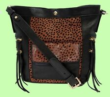 Authentic REBECCA MINKOFF Black & Leopard Print Tawny Dexter Bucket X Body Bag