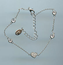 """7.75"""" to 9.75"""" Long Sparkling Heart and CZ by the Yard Chain Bracelet"""