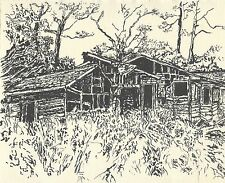 Indian ink drawing, abandoned farmhouse, by Artist Travis Thew, signed original