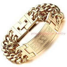 Fashion Jewelry 316L Stainless Steel Gold Tone Curb Chain Men's Bracelet 9*23mm