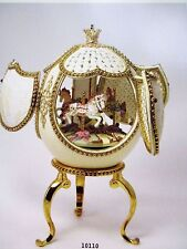 AUTHENTIC DECORATED OSTRICH EGG ~ MAGICAL CAROUSEL ~ MUSICAL #10110