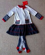 DEUX PAR DEUX GIRL Polka Dot Bow Knitted Dress & Tights Outfit 3T 3 Yrs $118 NWT
