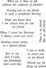 Lindsay Mason Friends Sentiments Special Friendship messages 9 craft word stamps