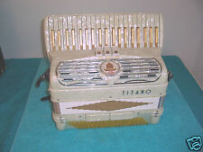 TITANO 120 bass Accordion 2/4 Reeds Tube Chamber Accordian Gold & White VGC