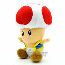 """6"""" New Super Mario Bros TOAD Red Plush Toy Doll^MX189"""