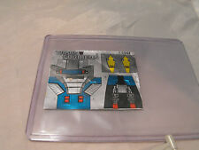TRANSFORMERS GENERATION 1, G1 DECEPTICON PARTS NAUTILATOR LABELS / STICKERS 5944