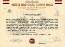 Multi national Corps Iraq Certificate of Commendation Operation Iraqi Freedom!.