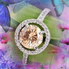 FAB ROUND CLUSTER MORGANITE & WHITE CUBIC ZIRCONIA SILVER RING SZ 8 - P