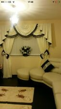 Designer Curtains Swags & Tails Cream &Black