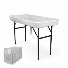 4 Foot RecPro™  Chill & Fill Table - Party Ice Plastic Folding Table w/ Skirt