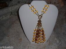 "Exquisite JOAN RIVERS 26"" Goldtone Crystal Bead Necklace w/Removable Tassel NEW"