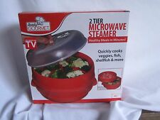 Handy Gourmet JB6216 2-Tier Microwave Steamer Red  New IN ORIGINAL BOX (LSB)