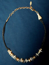 Gold & Silver European Charm on Black Cord Statement Necklace, by ST. THOMAS $60