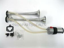 NEW SUPER LOUD Compact Chrome Metal 12V Dual Trumpet Train Air Two Horn Kit