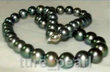 Very attractive 10-11mm perfect tahitian green black pearl necklace 18inch
