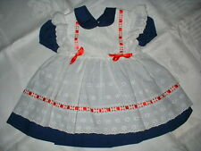 Baby Girl CI Castro Vintage Eyelet Apron DRESS~Blue White Red 12 18 24 months