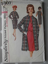 60s Dress & Coat Vtg Sewing Pattern Simplicity 5307 B 31.5
