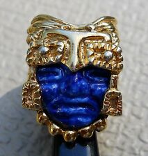 Marbel Mexico Vintage Aztec Warrior or King Gold Plated Ring ca. 1960's