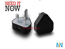 BLACK 3 PIN 1000mA USB Power Adapter Mains Charger UK wall plug for MP3 players