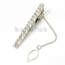 NEW Premium Mens Silver Metal Tie Holder Clip Jewelry Clasp Bar & Bling Crystal