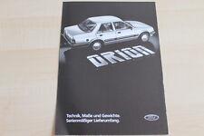 85286) Ford Orion - Technik - Maße und Gewichte - Prospekt 07/1983