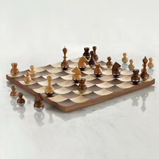 """Umbra Wobble Wooden Chess Set Board Game - 15"""""""