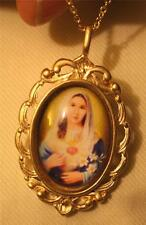 Lovely Swirled Goldtne Immaculate Heart of Mary with Flowers Medal Necklace