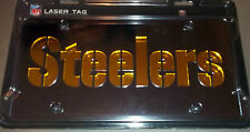 Pittsburgh Steelers Laser Tag Etched License Plate Black W/ Gold Letters