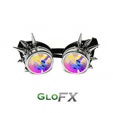 GloFX Chrome Spike Padded Kaleidoscope Effect Goggles Party Glow LED Steampunk