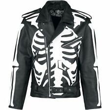X-Ray Skeleton Design Biker Leather Jacket by Poizen Industries  (X-LARGE)