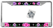 Hot Pink Purple Hibiscus On Black License Plate Frame Gift Metal Flowers TXT