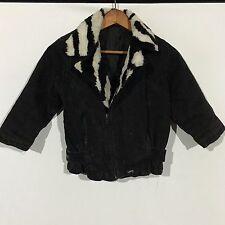 VTG 80s Guess Zebra Faux Fur Denim Biker Jacket Womens SZ 2XS Youth XL Jean