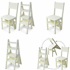 Folding Fold Up Library Steps Step Ladder Chair Kitchen Office Use Ivory White