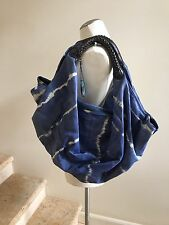 LAGALMA Blue Tie-Dye Leather Slouchy Hobo Shoulder Bag Handbag