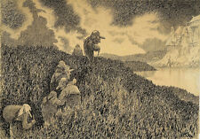 on the way to the feast at Troll Castle Theodor Kittelsen    Wall Art  Canvas