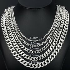 Silver 3mm MENS Chain curb Link Stainless Steel Necklace 19.6 inch
