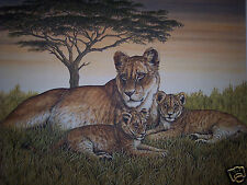 """Lioness & Cubs"" by Christine Marshall Limited Edition ARP Lithograph #10/25"