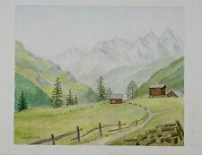 Aquarelle Valais Montagne Suisse Henri Gommers 1987