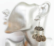 Boho Coin Look Dangle Drop Earrings 6 cms long in Tibetan Silver Look Finish