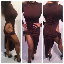 Connie's Long sleeve Brown Evening Dress With High Thigh Hip Exposure XXL