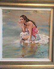 RARE NEW ORIGINAL GORDON KING Beach of Thought nude girl woman lady OIL PAINTING