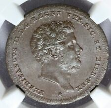 1839 Italy Naples & Sicily 2 Tornesi Coin - NGC MS 64 BN - KM# 327 - RARE