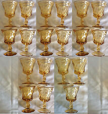 Vintage Fostoria Jamestown Amber 3-Ounce Wine Glasses, Lot of 19, Very Good Cond