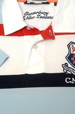 Canterbury of New Zealand Men's Blue Red Stripe Cotton Polo Shirt S Small