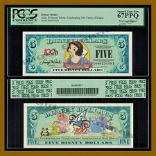 "Disney 5 Dollars, 2002 ""AA"" Series (5 Digits Serial) Snow White PCGS 67 PPQ"