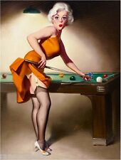 1940s Pin-Up Girl Shooting Pool Picture Poster Print Art Vintage Pin Up