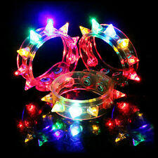 Flashing LED Rivet Party Bracelet Wristband Dance Disco Bangle Light Up Rave JS
