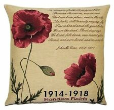"""NEW 18"""" TAPESTRY CUSHION COVER FLANDERS FIELDS V1 1914-18 POPPIES 5325"""